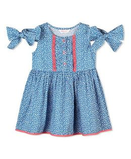 Budding Bees Floral Unique Sleeve Knotted Frock - Blue