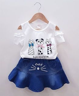Aww Hunnie Cat Face Top With Denim Skirt - White