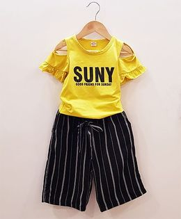 Aww Hunnie Cut Shoulder Top With Striped Lower - Yellow