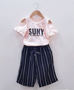 Aww Hunnie Cut Shoulder Top With Striped Lower - Pink