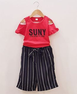 Aww Hunnie Cut Shoulder Top With Striped Lower - Red