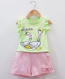Aww Hunnie Duck Patch Work Top With Side Bow Shorts - Green