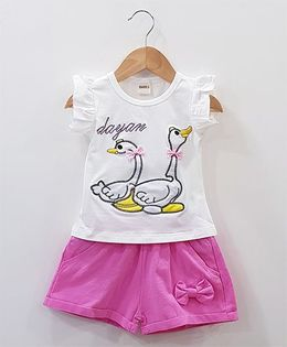 Aww Hunnie Duck Patch Work Top With Side Bow Shorts - White