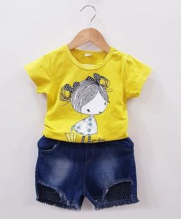 Aww Hunnie Girl Face Top With Net Work Denim Shorts - Yellow