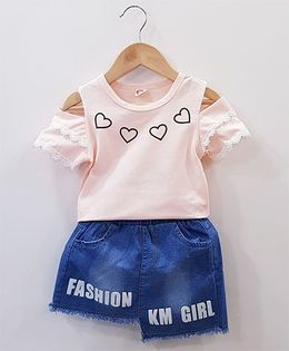 Aww Hunnie Hearts Print Top With Skirt - Pink
