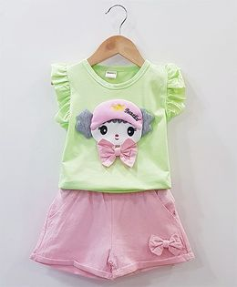 Aww Hunnie Baby Face Patch Work Top With Side Bow Shorts - Green & Pink