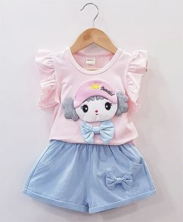 Aww Hunnie Baby Face Patch Work Top With Side Bow Shorts - Pink & Blue