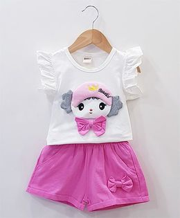Aww Hunnie Baby Face Patch Work Top With Side Bow Shorts - White & Pink