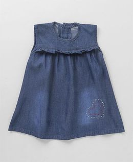 Wonderchild Heart Design Denim Dress - Dark Blue