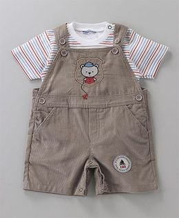Wonderchild Striped Tee & Dungaree Set - Brown