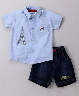 Wonderchild Paris Print Shirt With Tee & Shorts Set - Blue