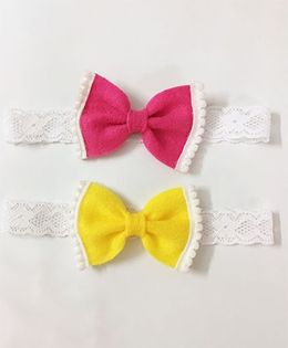 Knotty Ribbons Set Of 2 Bow Hair Band - Dark Pink & Yellow