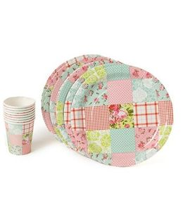 Shopaparty Patchwork Plates & Cups - Multicolor