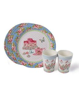 Shopaparty Tea Party Plates & Cups - Multicolor