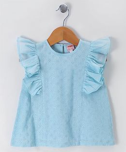 Hugsntugs Embroidered Ruffle Top - Blue