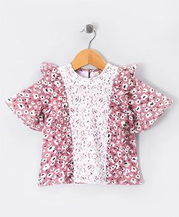 Hugsntugs Floral Print Ruffle Top With Lace Panel - Pink & white
