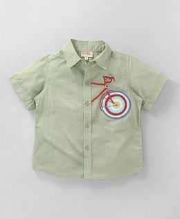Hugsntugs Half Sleeve Shirt With Cycle Embroidery - Green