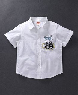 Hugsntugs Half Sleeve Shirt With Pineapple Embroidery - White