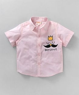Hugsntugs Half Sleeve Shirt With Moustache Embroidery - Light Pink