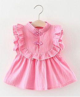 Pre Order - Awabox Frill Sleeves Dress - Pink