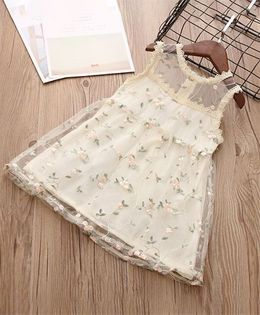 Pre Order - Awabox Floral Netted Dress - Cream