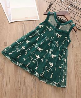 Pre Order - Awabox Floral Netted Dress - Green