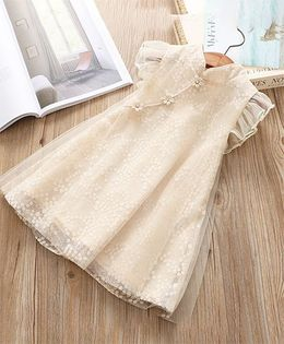 Pre Order - Awabox Frill Sleeves Designed Dress - Cream