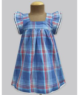 A.T.U.N Mermaid Madras Check Angel Sleeve Dress - Blue