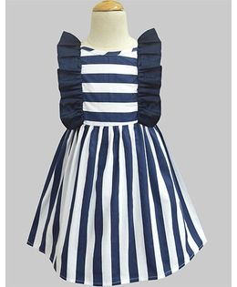 A.T.U.N Stripe Ruffle Dress - Navy