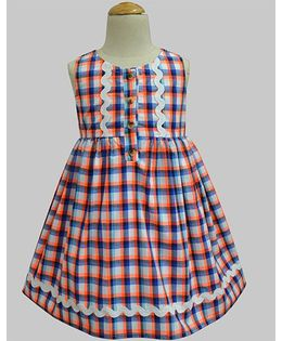 A.T.U.N Neon Gingham Penelope Dress - Blue & Orange