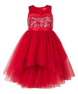 Toy Balloon Kids Sequins Hi-Low Party Dress - Red