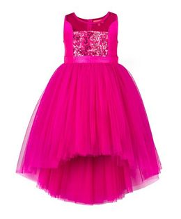 Toy Balloon Kids Sequins Hi-Low Party Dress - Pink