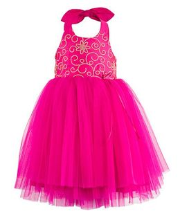 Toy Balloon Kids Embroidered Halter Party Dress - Pink