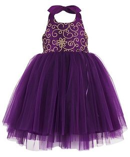 Toy Balloon Kids Embroidered Halter Party Dress - Purple