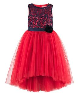 Toy Balloon Kids Floral Lace Hi- Low Party Dress - Red