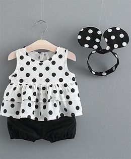 Lil Mantra Polka Dotted Top & Shorts Set With Head Band - White