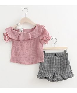 Lil Mantra Ruffle Shoulders Top & Chequered Flare Shorts Set - Pink