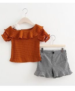 Lil Mantra Ruffle Shoulders Top & Chequered Flare Shorts Set - Brown