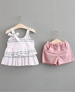 Lil Mantra Leaves & Dots Print Layered Sleeveless Top & Shorts Set - Pink