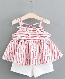 Lil Mantra Watermelons Print Striped Flare Top & Shorts Set - Pink