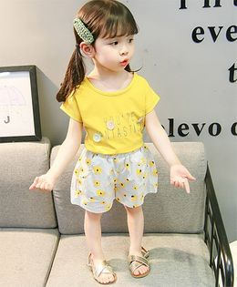 Lil Mantra Tee & Flower Print Striped Shorts Set - Yellow