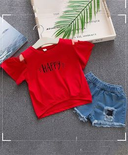 Lil Mantra Happy Print Cold Shoulder Top & Ripped Shorts Set - Red