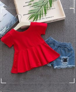 Lil Mantra Plain Flare Top & Ripped Shorts Set - Red
