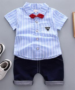 Lil Mantra Striped Shirt With Bow & Bottom Set - Blue