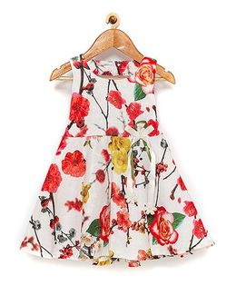 Rose Couture All Over Floral Print Dress - White