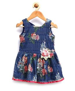 Rose Couture Floral Design Back Knot Dress - Navy