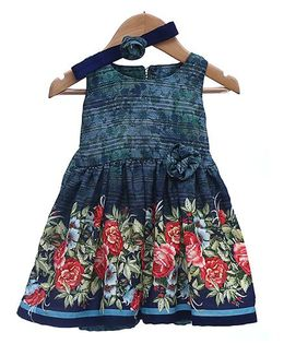 Rose Couture Floral Flare Dresswith Back Knot - Navy