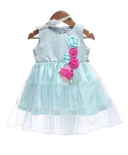 Rose Couture Flower Applique Dress - Light Blue