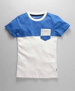 Holy Brats Contrast Cotton Tee - Blue & White