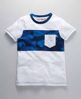 Holy Brats Camouflage Print Cotton Tee - Blue